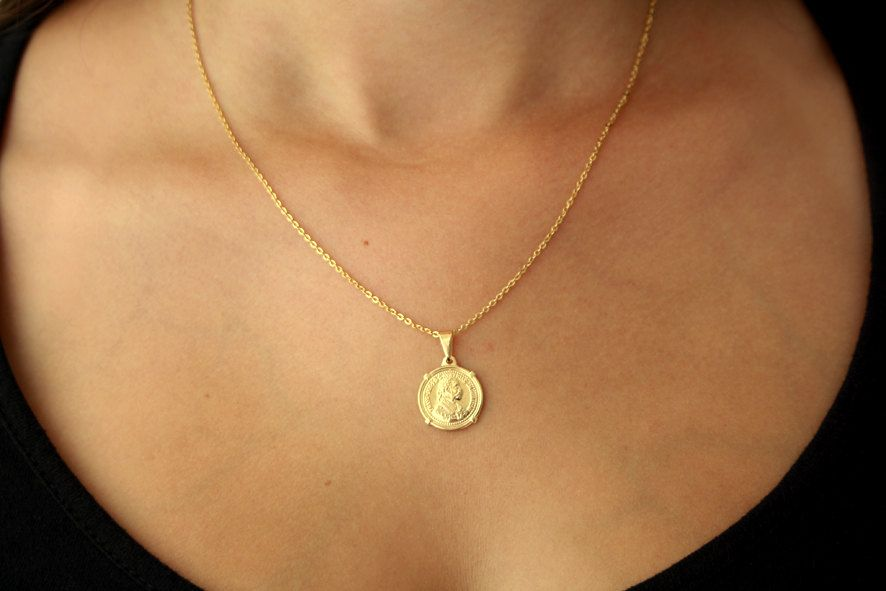 Gold pendant gold coin coin jewelry coin pendant gold necklace dying favorite ever aloadofball Images