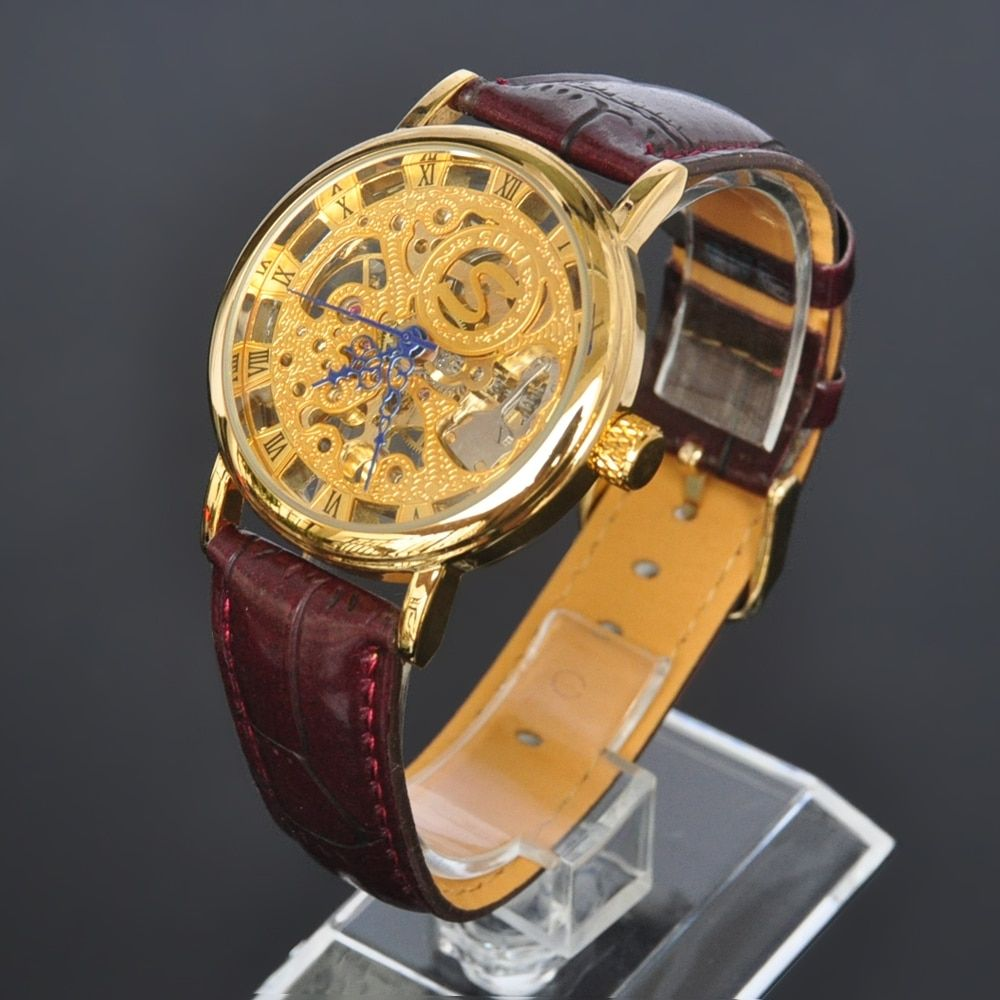 New gold color mens mechanical hand winding leather brown