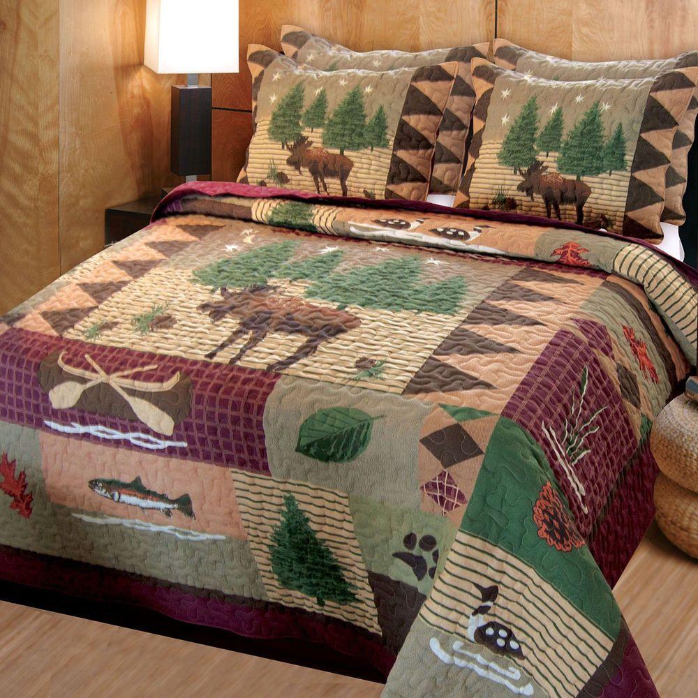 Queen Quilt Set Moose Queen Comforter 2 Shams Rustic Bedspread Gift