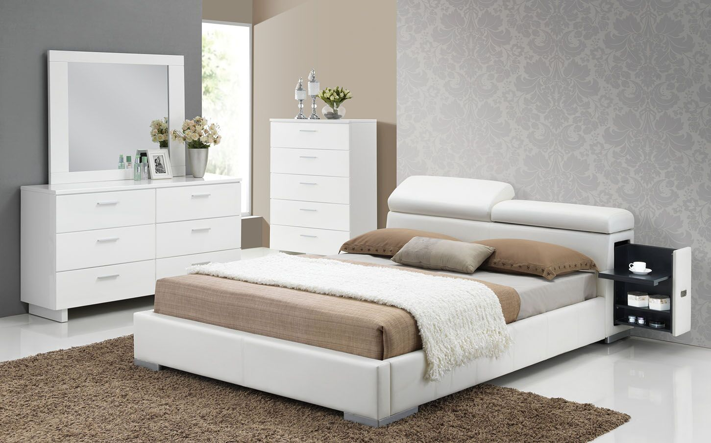 Manjot White Queen Size Bed Upholstered platform bed