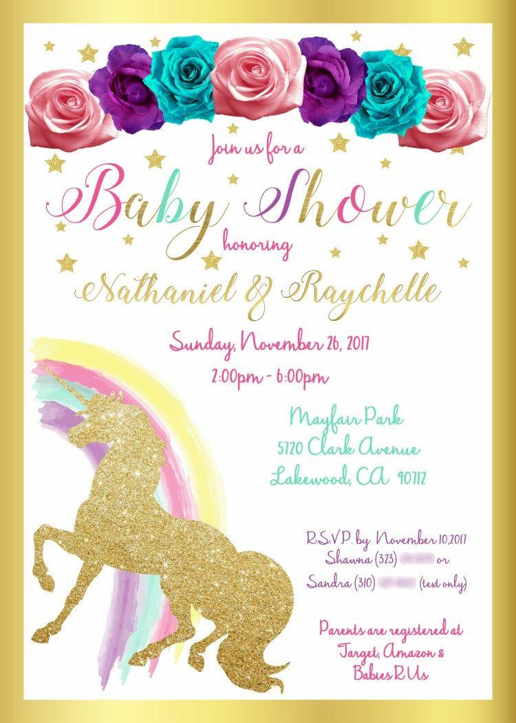 Custom Unicorn Theme Baby Shower Invite for inquires