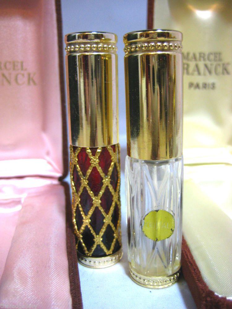 Two Marcel Franck Purse Size Perfume Bottle Spray Atomizers In Velvet Box