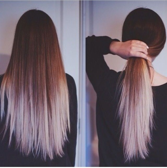 Long ombréd hair, ask for icy blond white ombre