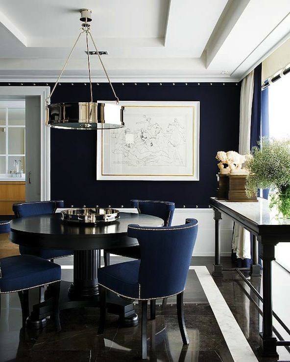 A Touch Of Luxe Navy Dining Room With