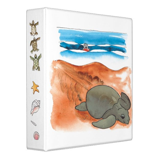 Fun Colorful Sea Turtle Beach Custom 3 Ring Binder
