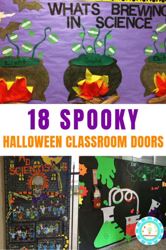 Adorable Halloween Classroom Doors with a Science Twist #halloweenclassroomdoor