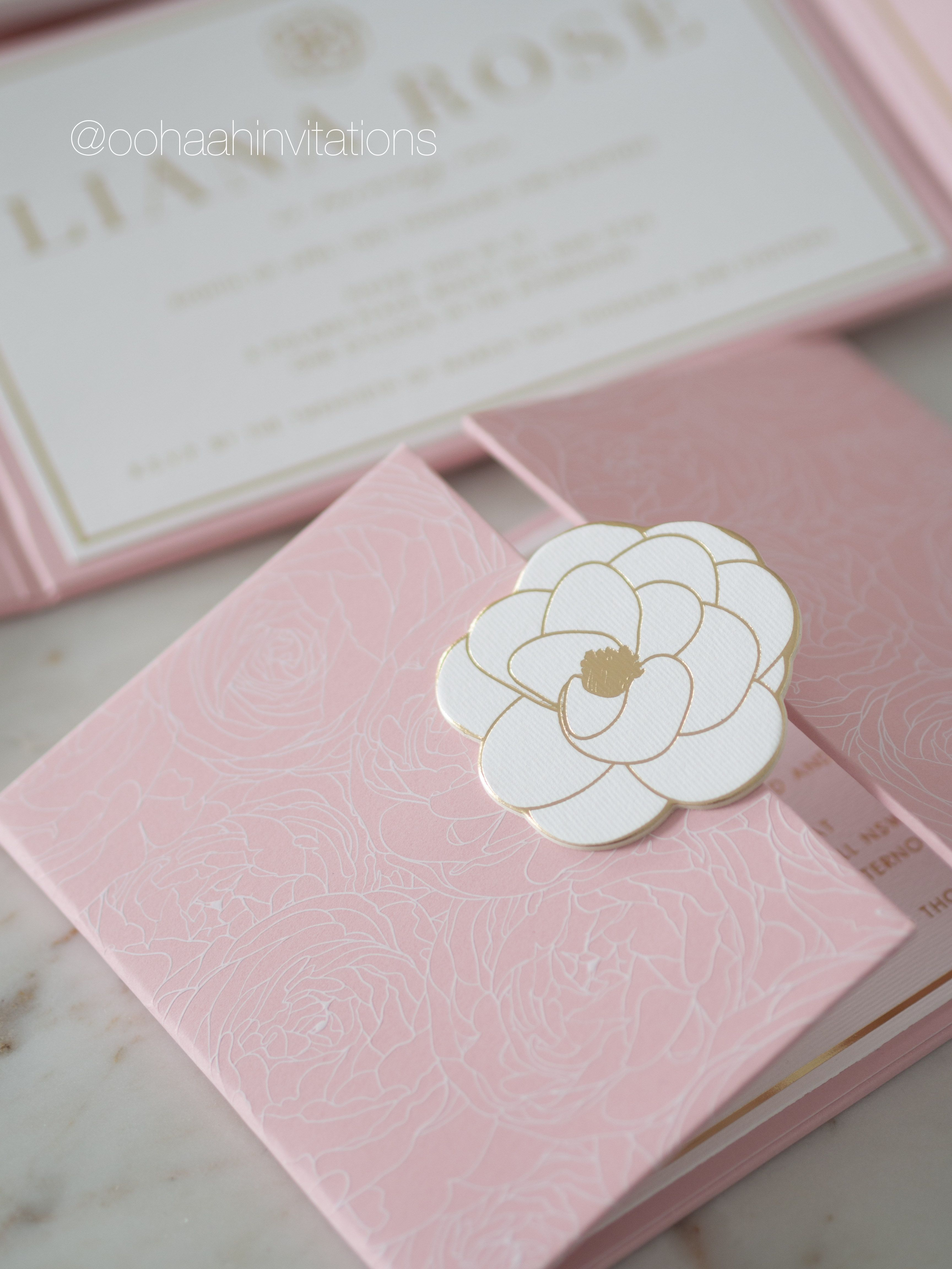 THE GATEFOLD Liana Rose first birthday party invitation by ooh a Luxury wedding invitations