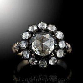 Georgian Style Diamond Cluster Ring - Antique Engagement Rings ~ Vintage Engagement Rings - Engagement