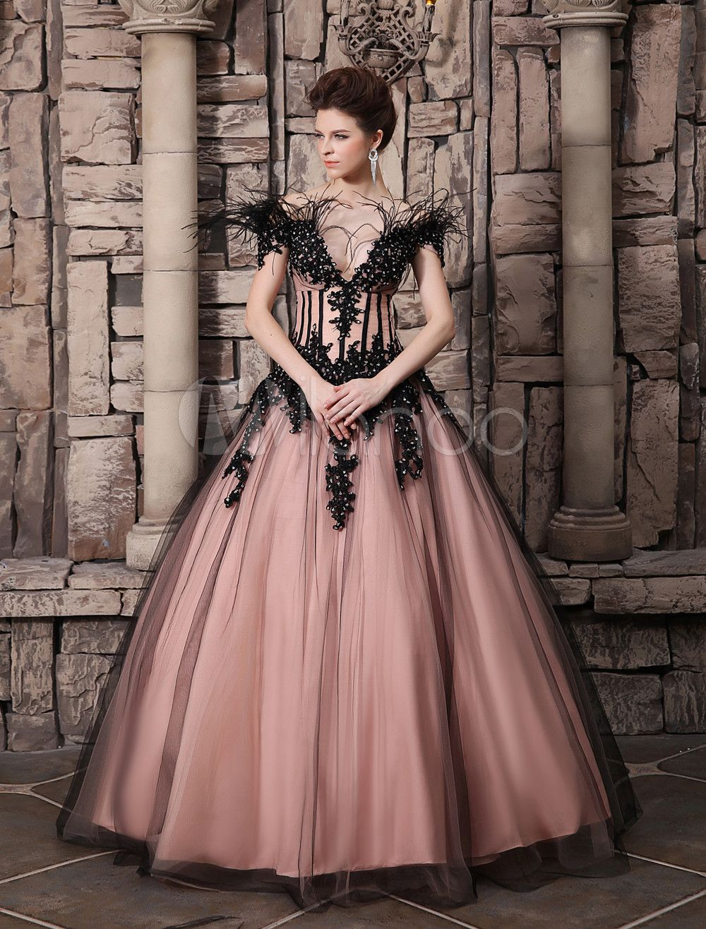 Pink Ball Gown Off-The-Shoulder Feather Lace Applique Wedding Dress ...
