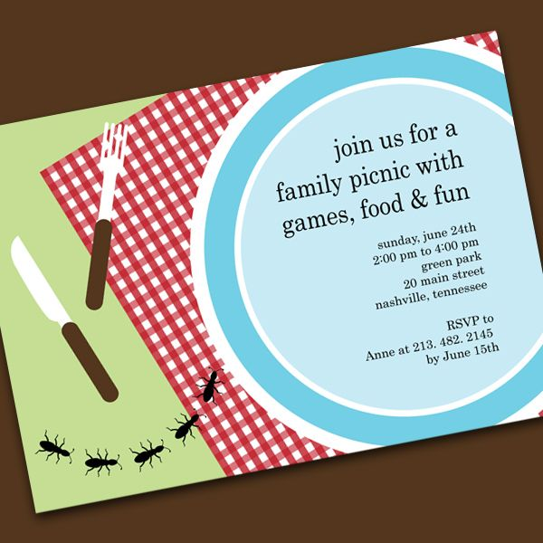 Invite Idea  Invitations    Picnics Family Reunions