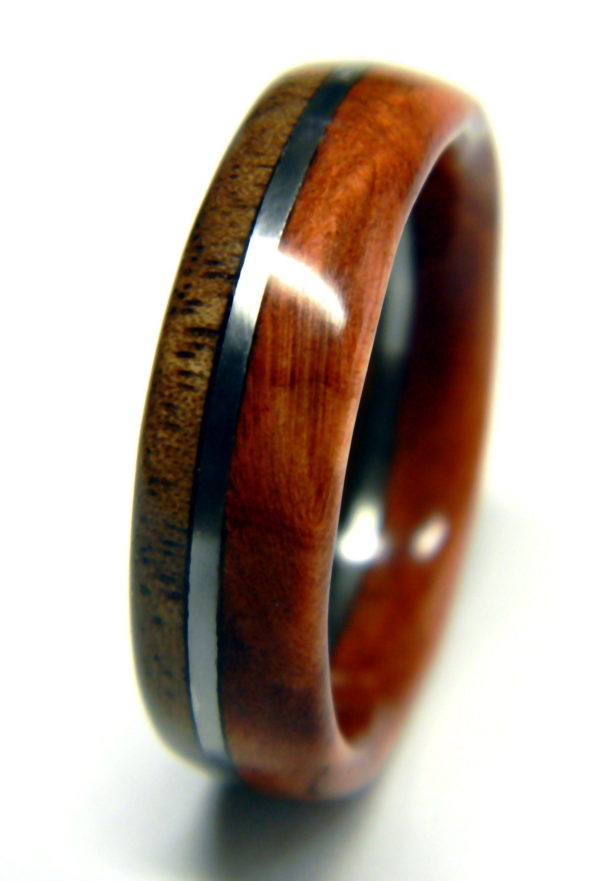 Walnut and Redwood Burl Mens Wooden Ring Wooden wedding