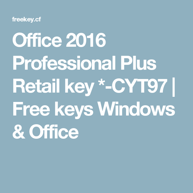 office 2016 pro plus retail key