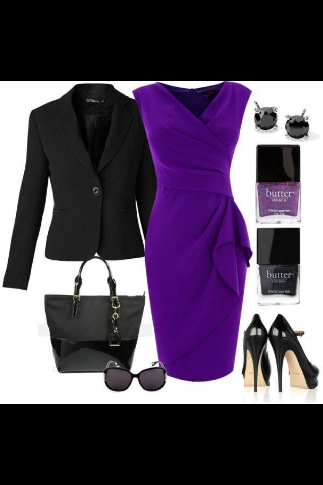 Vestido morado con saco negro | Ropa | Pinterest | Vestido morado ...