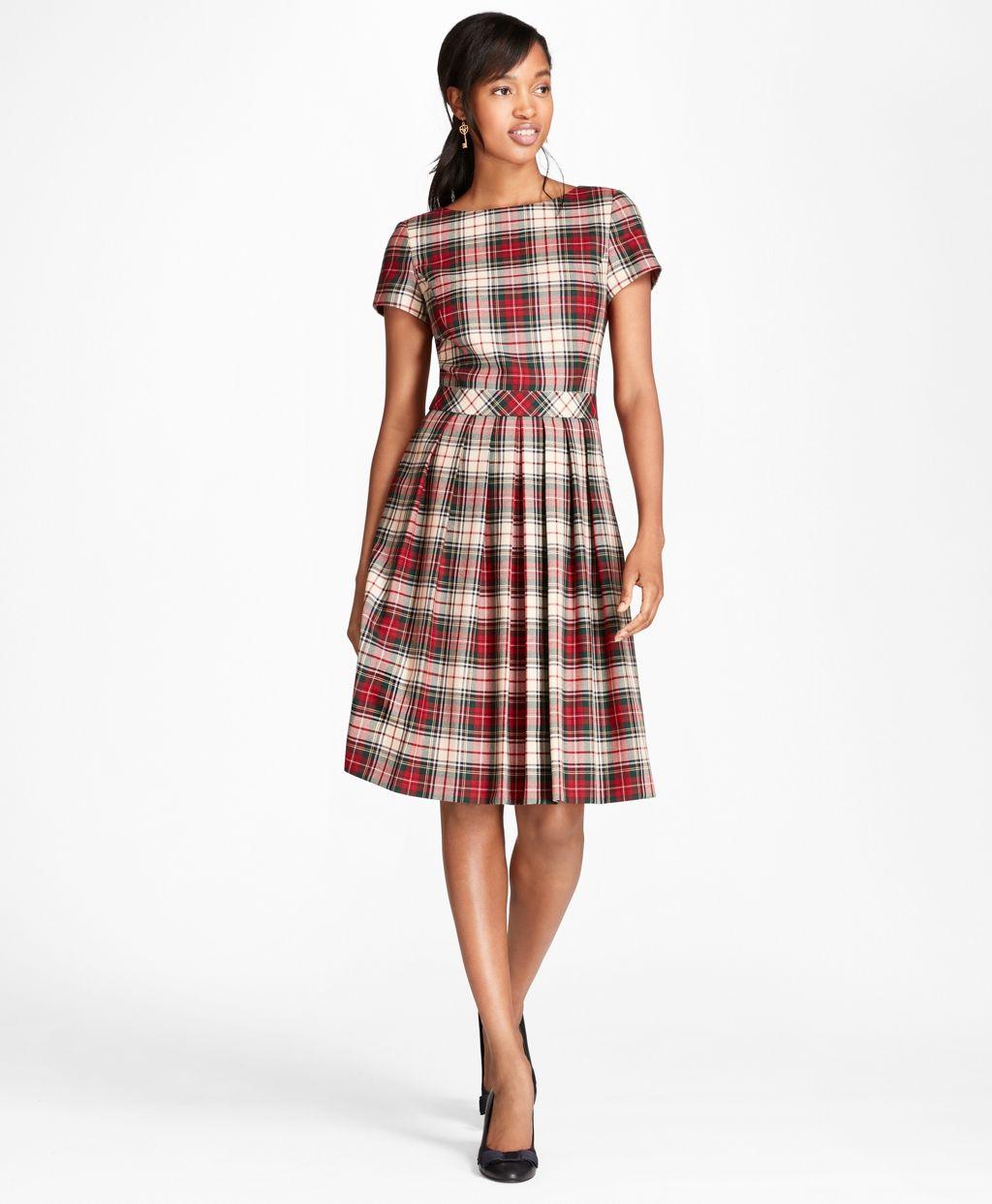 3ba27c5359506 Pleated Tartan Wool Twill Dress - Brooks Brothers   Plaids & Tartans ...
