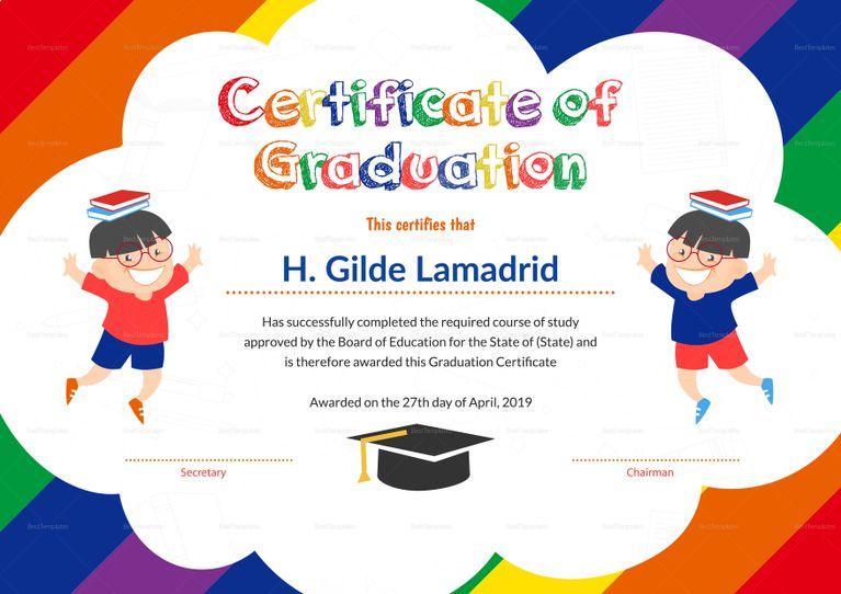 Sample Students Graduation Certificate Tempalate Education
