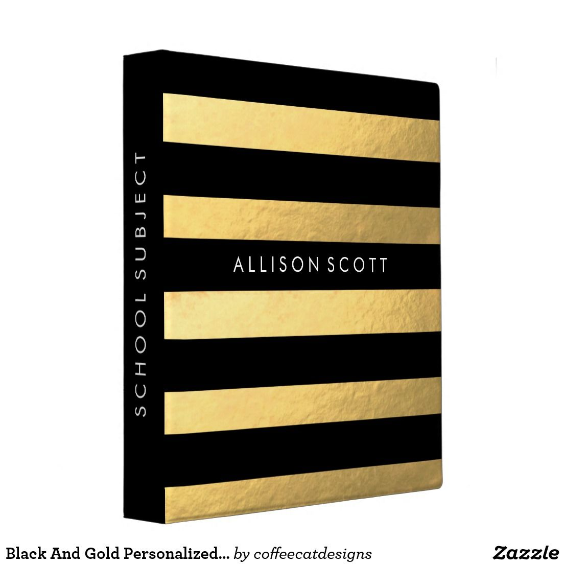 Black And Gold Personalized Binder