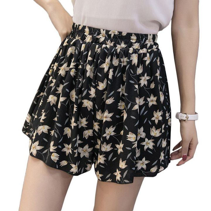 loose boho floral casual chiffon shorts plus size