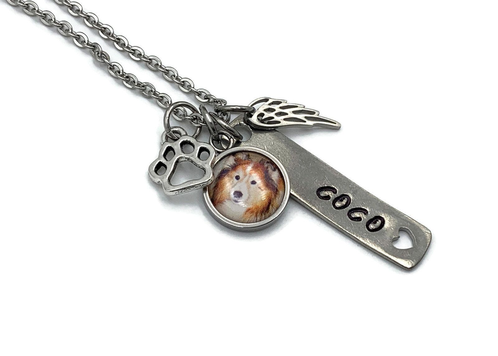 Paw Prints Memorial Gift Hand Stamped In Memory Personalized Pet Loss Gift Angel Wing Pet Name Engraved Pet Loss Necklace