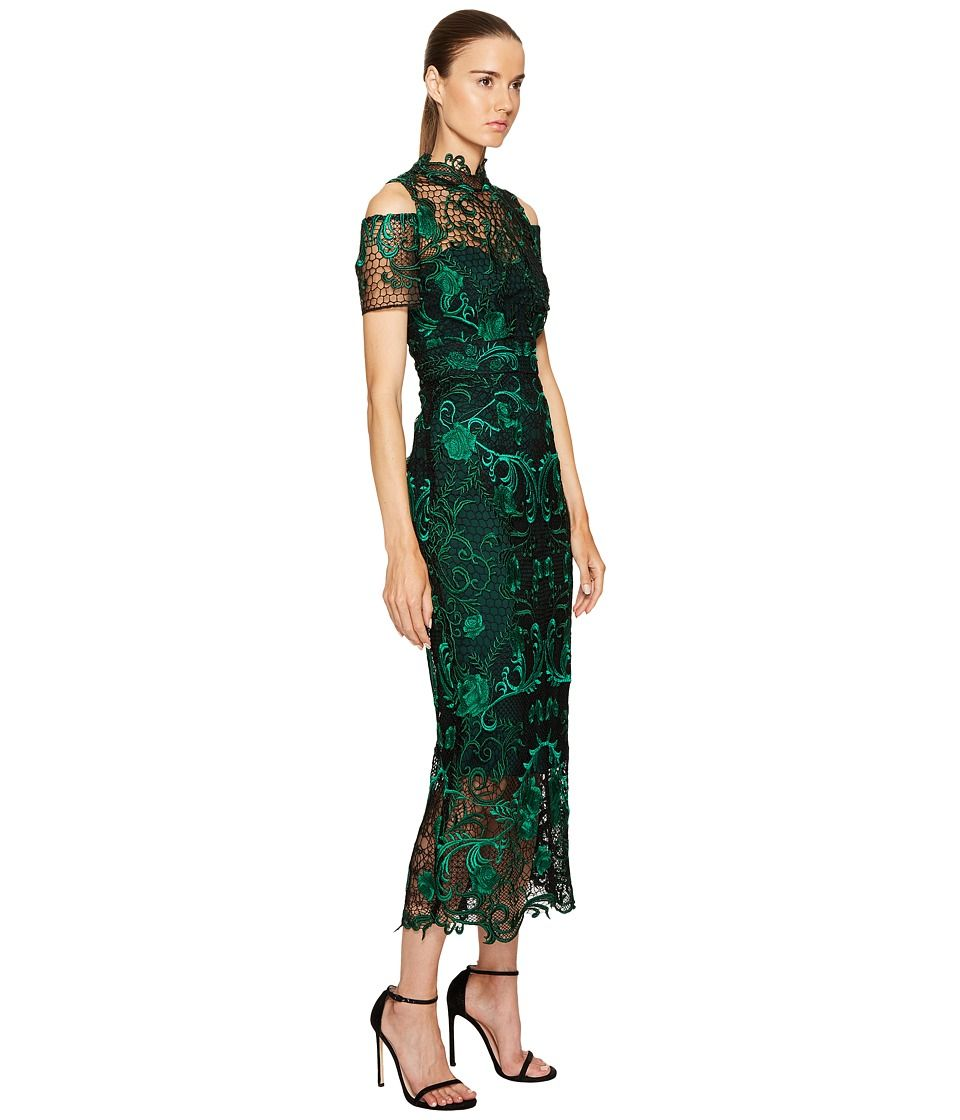 d3bfbb2cdf706 Marchesa Notte Guipure Lace Ankle Length Cocktail w  Cold Shoulder Women s  Dress Green