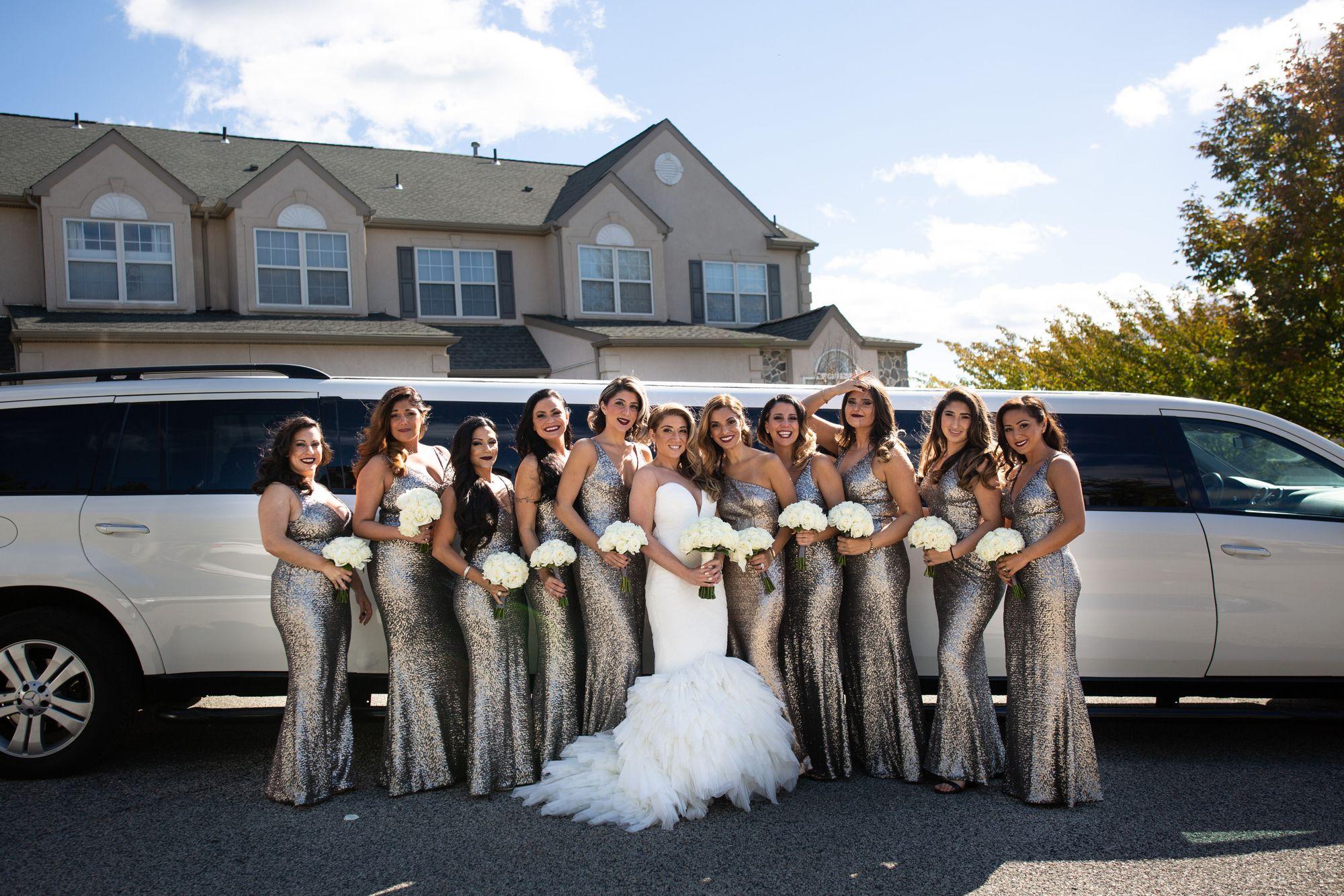 bridesmaids dresses/ wedding limo/ bride and bridesmaids