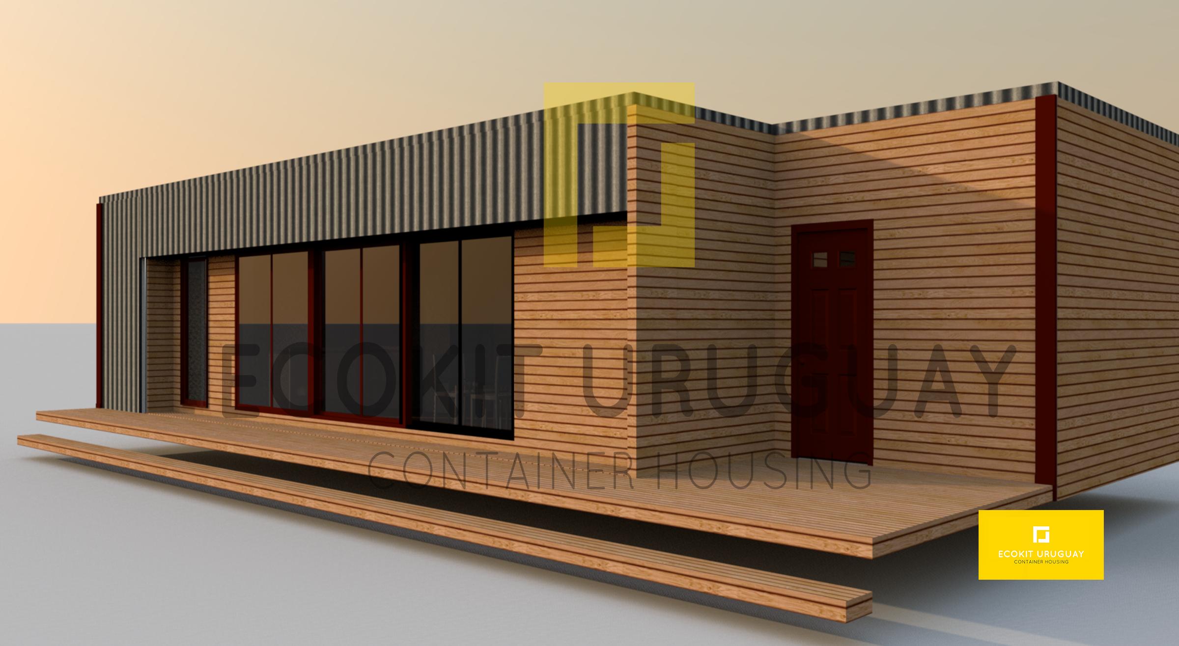 Casa De 3 Modulos Contenedor De 40 Mas Uno De 20 Revestida En Madera Brasilena