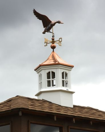 Beautiful Hexagonal Cupola With Curved Copper Roof And Copper Landing Duck Weather Vane Adds Charm And Character To Any Stru Cupolas Copper Roof Weather Vanes