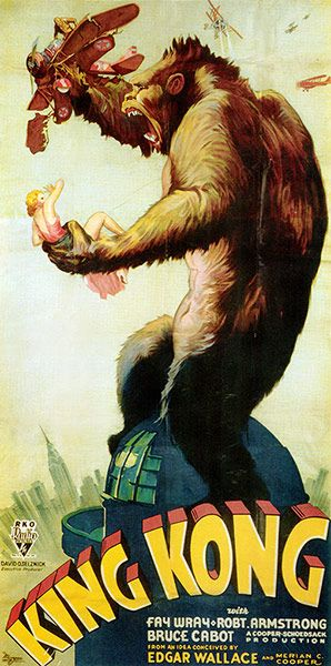"""A three-sheet for the 1933 monster movie King Kong in what is known as the """"Style A"""" design, which sold for $244,500 in 1999. This for comparison, is the """"Style B"""" three sheet Photograph: Everett Collection / Rex Feature    www.guardian.co.uk/film/gallery/2012/mar/14/10-most-expensive-film-posters-in-pictures?CMP=SOCNETIMG8759I"""