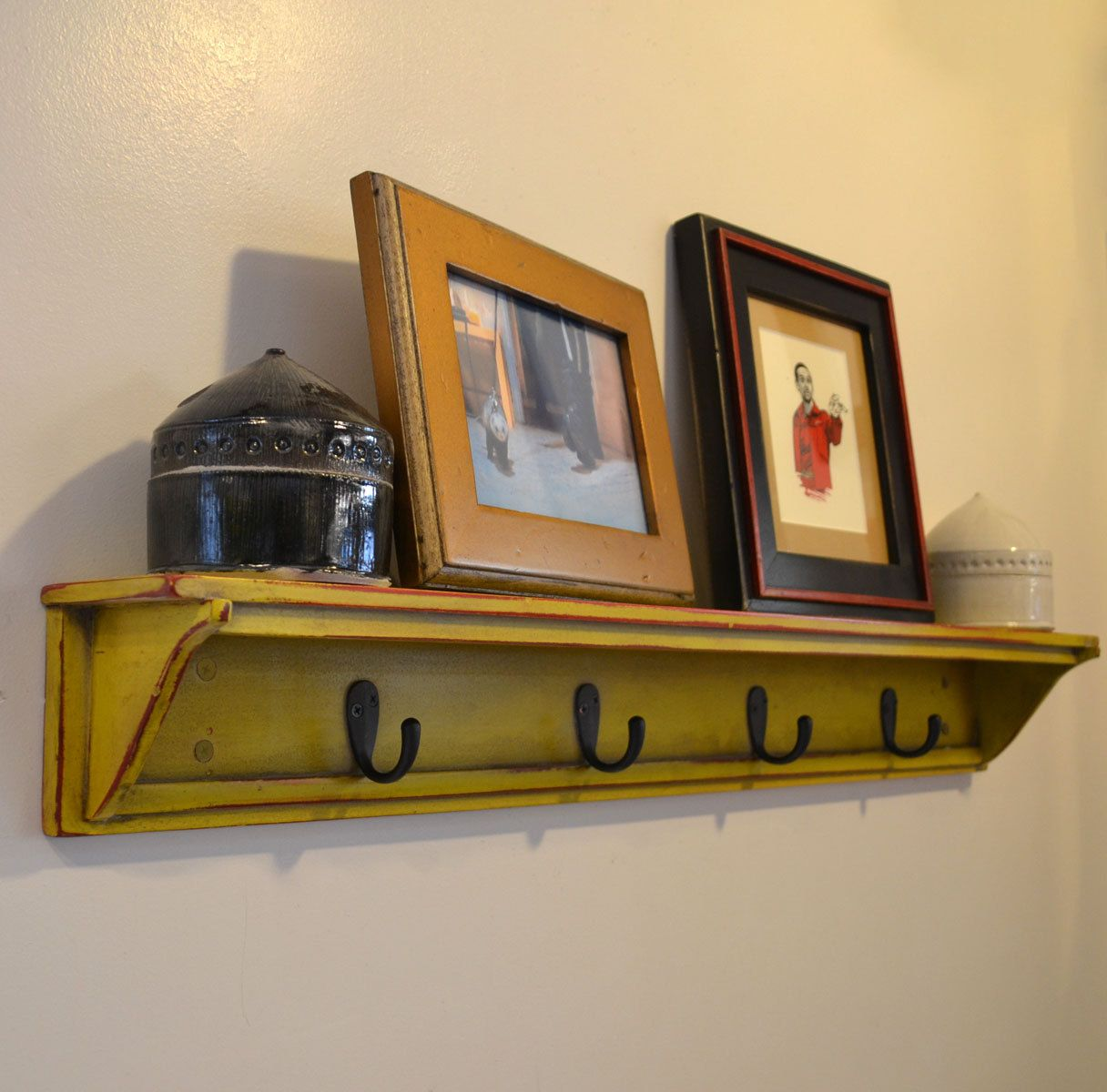 Handmade 30 Inch Long One Level Coat Rack Wall Shelf In Color Of Your Choice Wooden Mounted With Hooks Can Be Customized