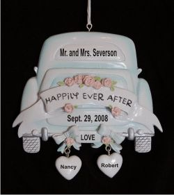 White Limo Wedding Ornament Personalized Christmas Ornament | Limo ...