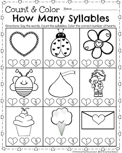 Kindergarten Math And Literacy Worksheets For February Planning Playtime Kindergarten February Kindergarten Language Arts Syllable Worksheet