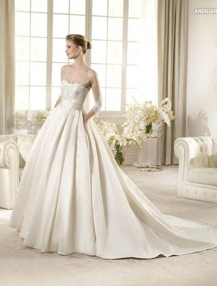 Sheer Neckline Full Skirt Satin A Line Wedding Dress With Beadings And Sleeves FSPW136