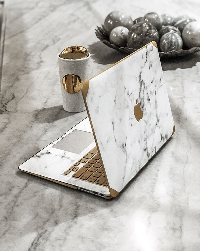 Gold and Logo White Marble MacBook Case