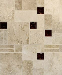Brown travertine glass mix kitchen backsplash tile from Backsplash