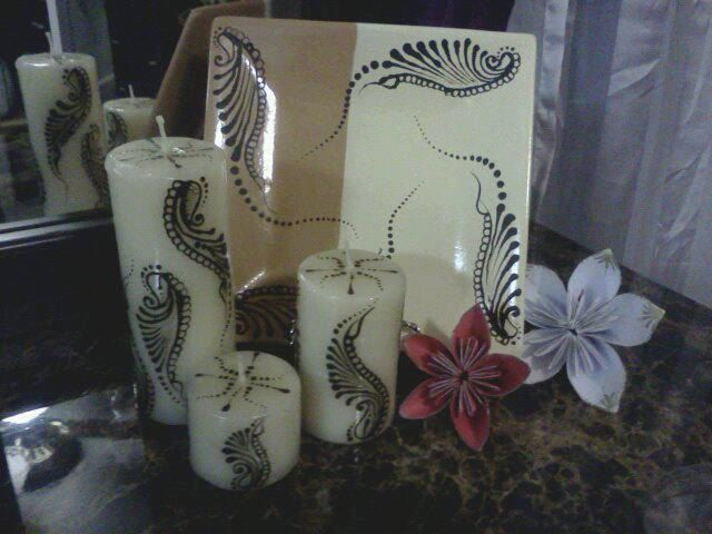 Henna designed scented candle set, sugar cookies scented candle garden. $15.00, via Etsy.