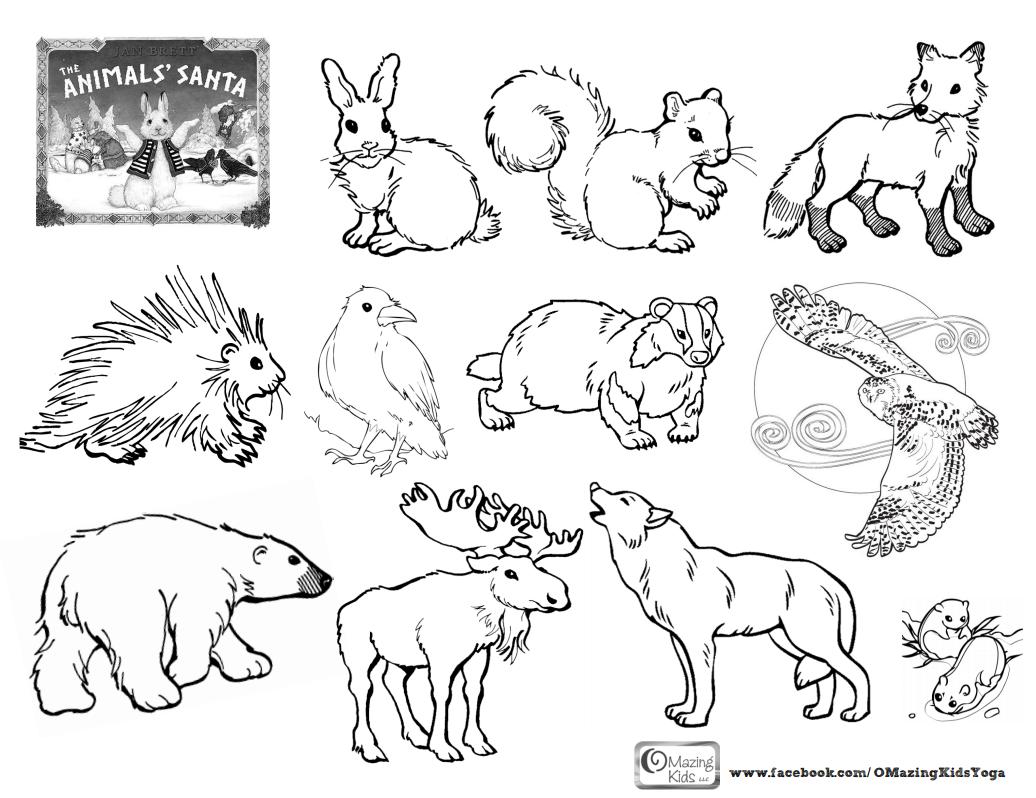 Preschool hibernation coloring sheet coloring pages the animals santa by jan brett an omazing kids yoga lesson plan