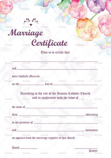 Watercolor Wedding Certificate Template Certificate Design - wedding certificate template