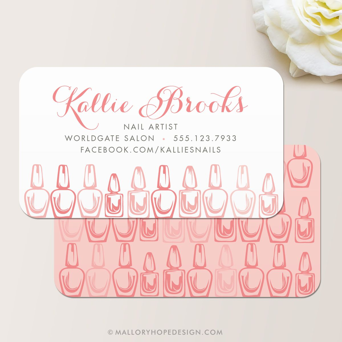 Nail Artist Business Card, Nail Salon Business Card in Dusty Rose ...