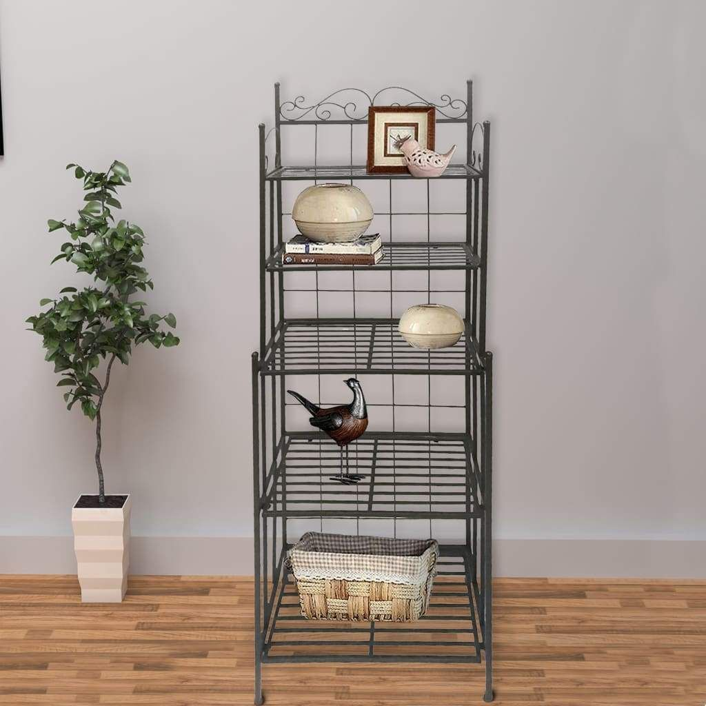 Five Tier Storage Metal Bakers Rack With Scrollwork Accents Black