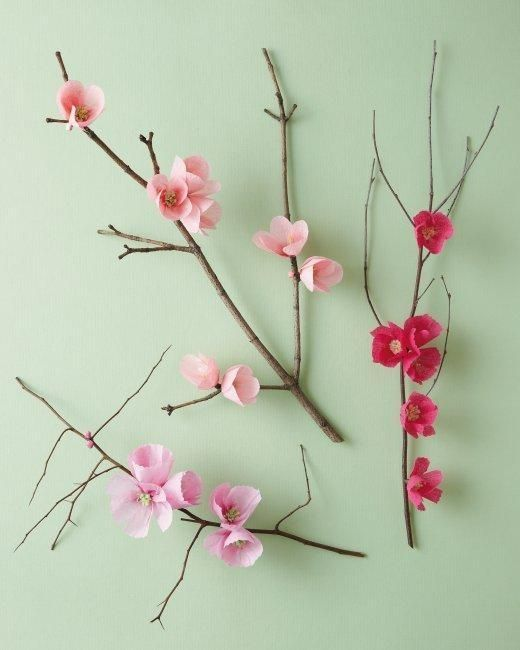 Cherry Blossom Branch Paper Flower Tutorial Paper Flowers Flower Crafts