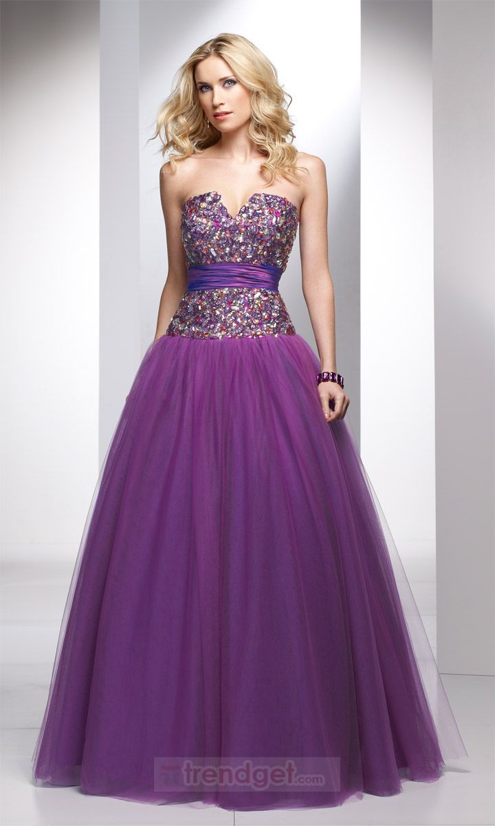 Allure A-line Strapless Floor-length Organza Purple Quinceanera ...