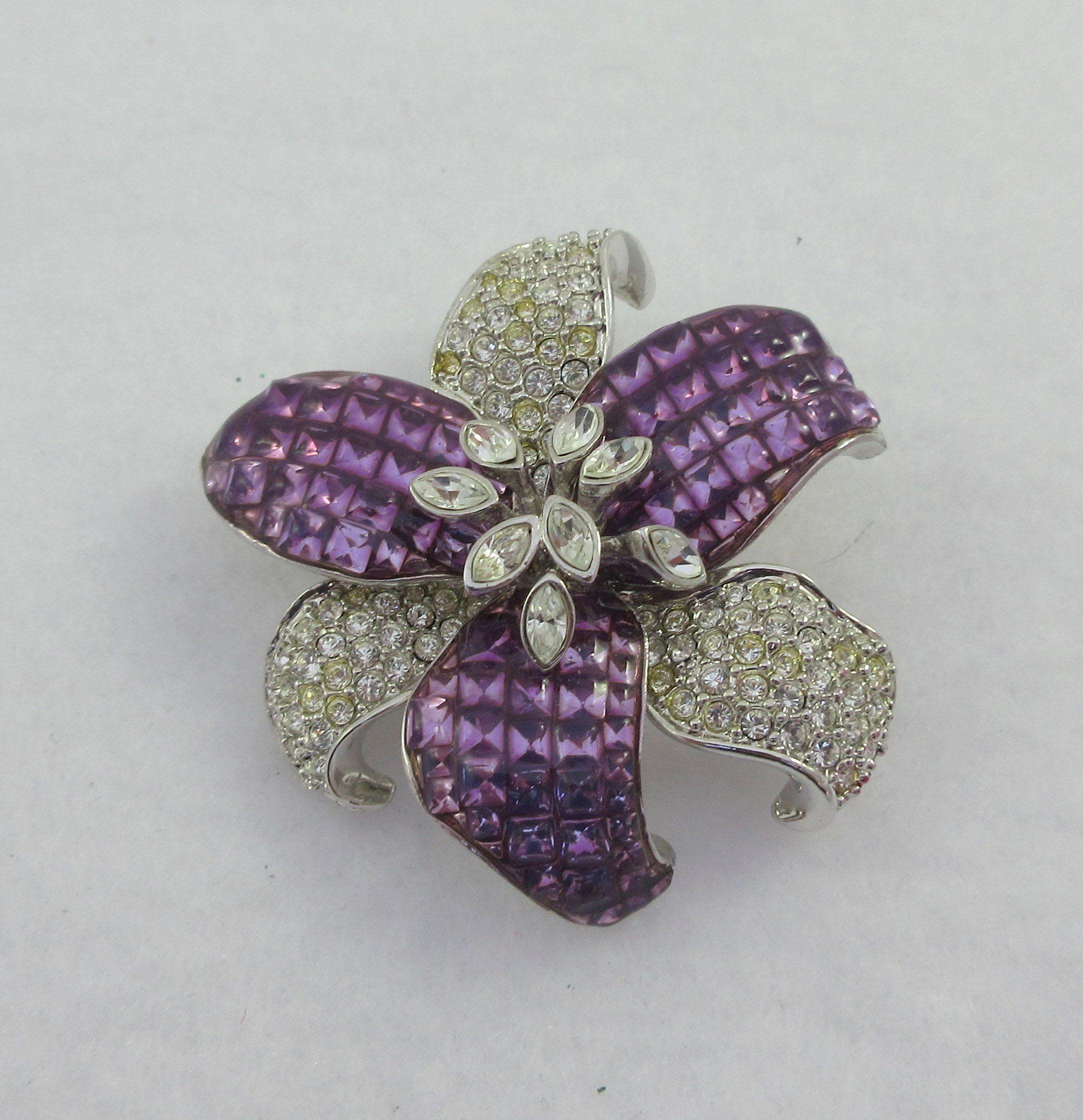 Purple Clear Rhinestones Pin Vintage Sterling Flower Brooch