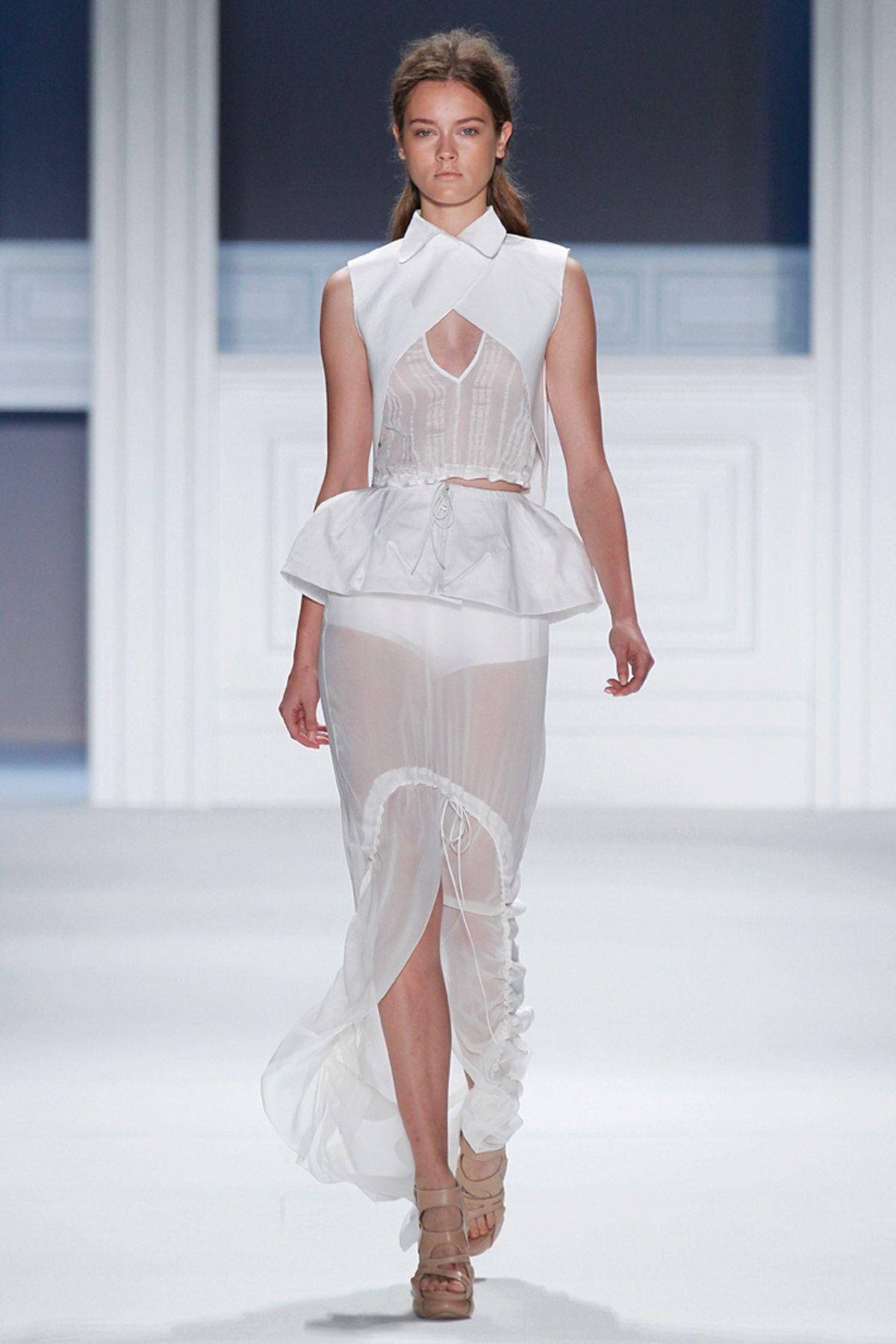 White silk-linen striped V-neck top with white mackintosh cotton criss cross collar overlay and drawstring peplum over white silk chiffon sheer drawstring maxi skirt.