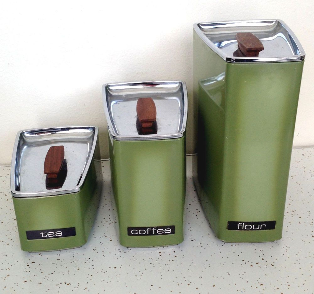 vintage kitchen canister set lincoln beautyware avocado green tea