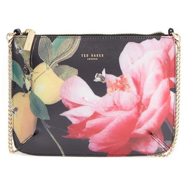 Women's Ted Baker London 'Juletta - Citrus Bloom' Printed Leather... ($129) ❤ liked on Polyvore featuring bags, handbags, shoulder bags, black, leather purses, leather crossbody purses, leather crossbody, crossbody shoulder bags and genuine leather purse