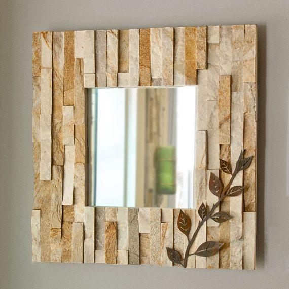 Ledge Wall Mirror - Natural Stone - Patina Metal