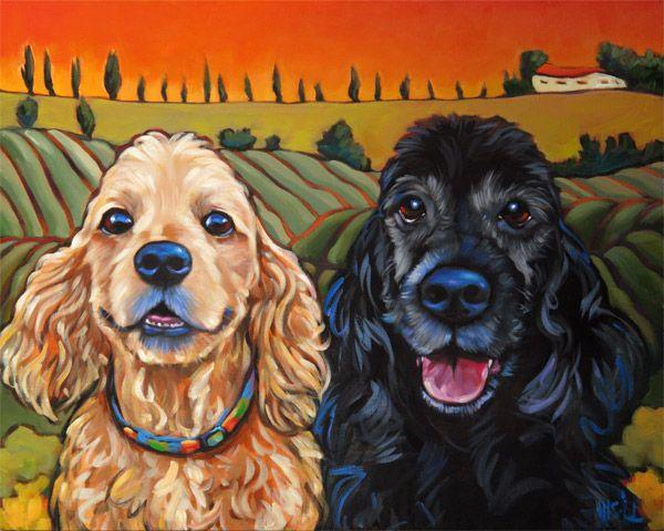 Pet Portrait Of Jordan And Sullivan San Diego Ca By Marna Schindler Spaniel Art Pet Portraits