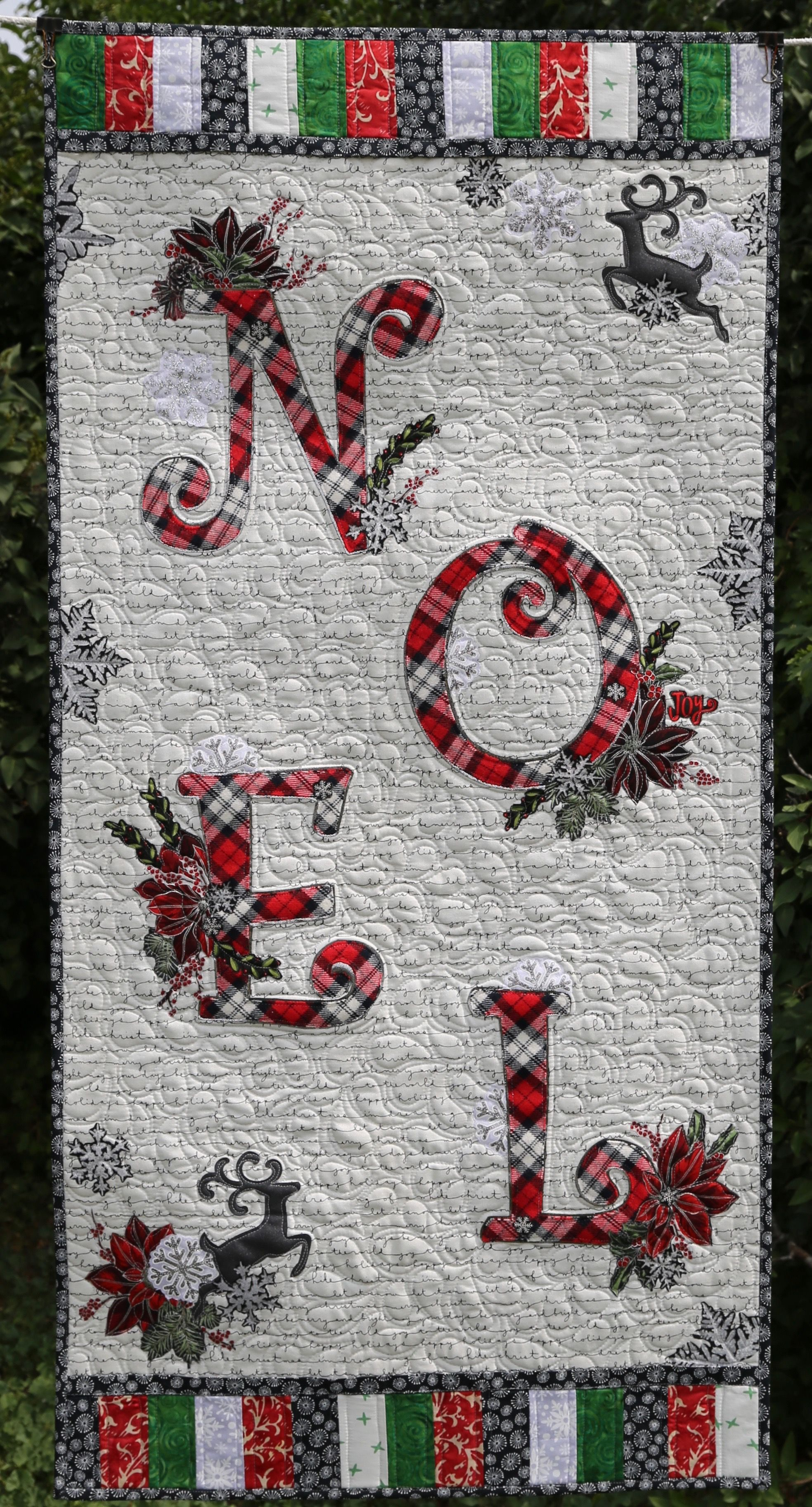 NOEL ~ Paper Pattern for Quilted Collage Wall Hanging - Marveles Art Studios