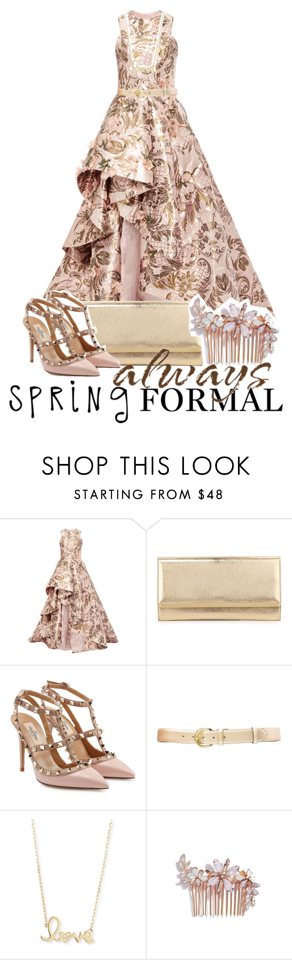 """Always, Spring Formal"" by drinkdionysus ❤ liked on Polyvore featuring Monique Lhuillier, Jimmy Choo, Valentino, Lauren Ralph Lauren, Sydney Evan, Camilla Christine and springformal"