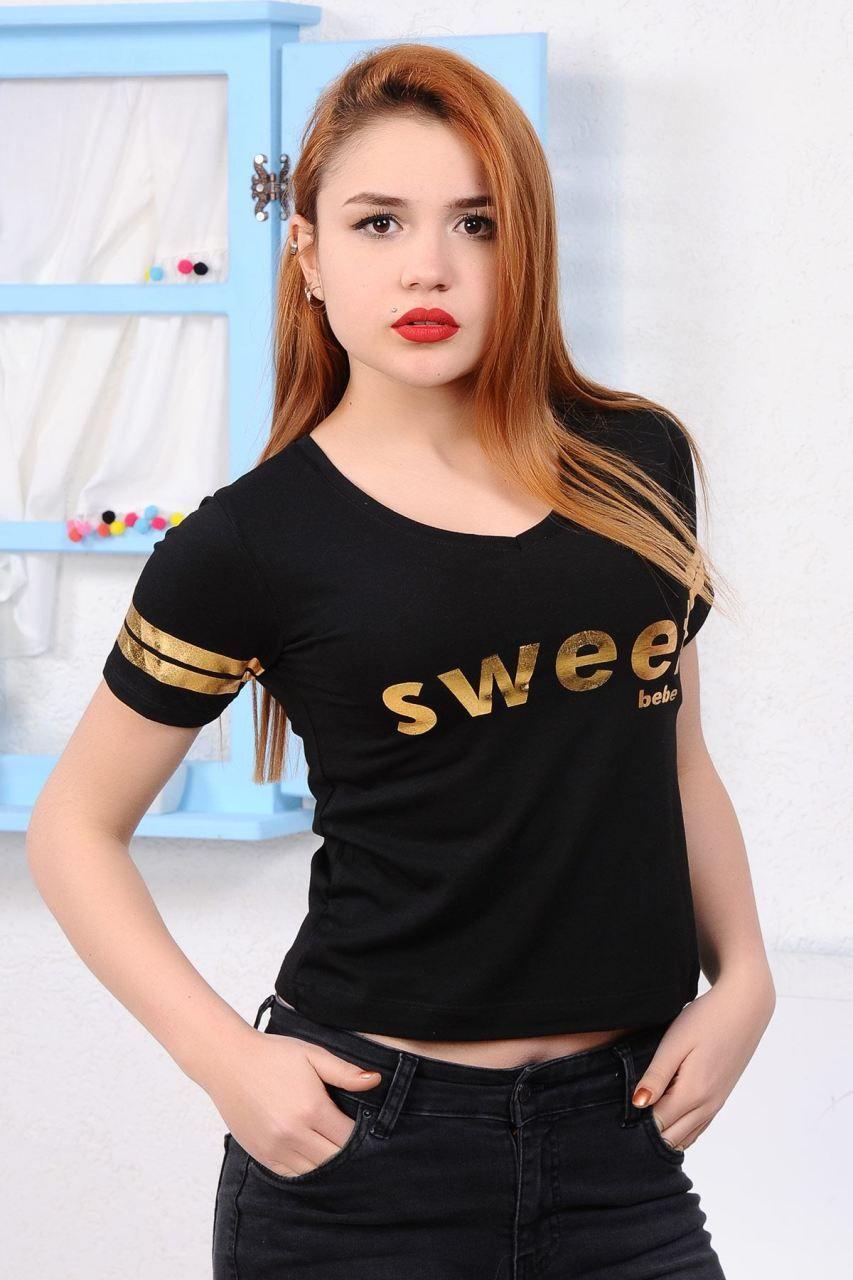 Sweet Baskili Siyah T Shirt Giyim Indirim Kampanya Bayan Erkek Bluz Gomlek Trenckot Hirka Etek Yelek Mont Kase Tisort Modelleri Bluz Ve Pantolon