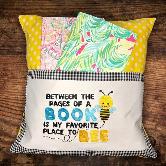 Between the Pages of a Book is My Favorite Place to Bee Reading Pillow 5 x 7 Embroidery Design Instant Download